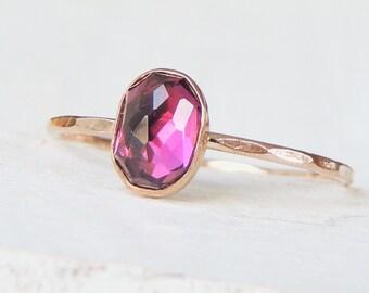 Rhodolite Garnet Gold Ring, Dainty Gold Ring, Rose Gold Ring, Stackable Ring, Rose Gold Ring, Yellow Gold Ring, Engagement Ring