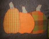 Three Fall Wool Flannel Pumpkins Appliqued on Cotton/Flannel Tweed Fabric Handmade Pillow.