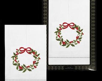Hand Embroidered Christmas Wreath Tea Towels (2 Pc. Set)