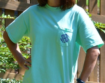 SALE---Comfort Color Pocket Short Sleeve Tee / Monogrammed/Bridesmaid Gift/ Beach Cover-Up