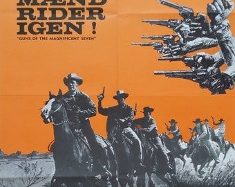 """1969 """"Guns of the Magnificent Seven"""" Movie Poster - Original Vintage Poster"""