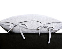 "Black and white striped linen pillow cover - grey linen Euro sham 26x26"" - Scandinavian style   0036"