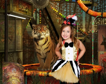 Boutique custom handmade pageant girls Circus Ringmaster tutu and top costume