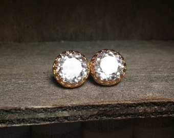 White Sapphire Earrings(Lab Created) Yellow Gold Plated Sterling Silver- 6mm or 8mm