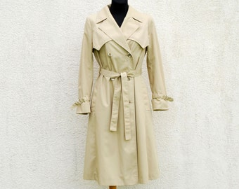 Vintage Classic Beige Trench Coat Double Breasted Belted Lining Overcoat Raincoat Medium Size