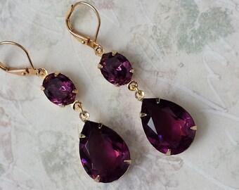 Amethyst Crystal Teardrop Earrings Swarovski Double Drop Earrings Wedding Bridesmaids Jewelry Swarovski Rhinestone Purple Drop Earrings