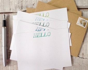 Hello Letterpress Correspondence Cards {set of 5} Ombré Palette