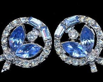 Pell Blue & White Glass Stone Earrings - Vintage