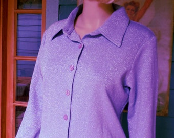 Vintage 1970's Disco Hipster Lavender Lurex Button Down Long Sleeve Shirt by One Wrapper Size Large