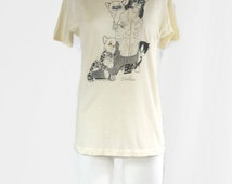 Vintage Dallas Kittens and a Cowboy Boot T-Shirt copyright 1986 Walton! Local West - Sneakers Label Tag 50/50 Made in USA NOS