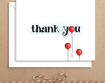 Balloon Thank You Note - Thank You Folded Note - Everyday Thank You - Illustrated Note Cards
