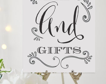 5x7 AND 8x10 Cards and Gifts Wedding Sign, Printable Wedding Sign, Wedding Reception Table Sign, DIY Wedding Signage, Gifts Table Sign