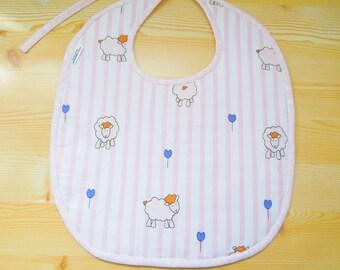 Baby bib, girl bib, new born bib, sheeps bib, pink bib, baby shower, it's a girl, animals bib, kawaii bib, quilted bib, baby shower gift