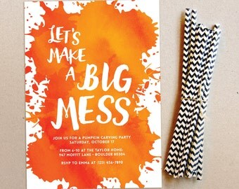 Pumpkin Carving Party   Halloween Party Invitation   BIG MESS Pumpkin Party   Printable/Evite