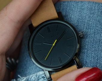 Black case and yellow second hand watch with brown strap, Leather watch, Mens watch, Womens watch, Gift for her, Black watch, Wrist watch,