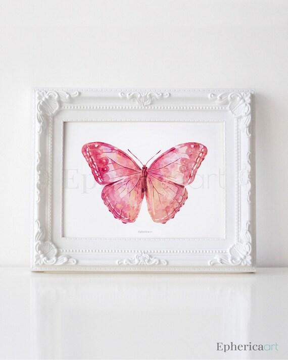 Pink Butterfly Art Print Girly Wall Art Bedroom By EphericaArt