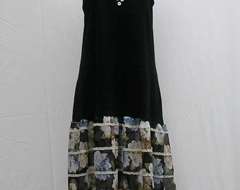 Plus size slip Dress, plus size tank dress, black slip dress, 1x 2x, OOAK dress, one of a kind, upcycled, refashioned, flapper dress, 20s