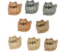 Fat Cats Jesse James Buttons, Cat Buttons, Craft Embellishment, Fun Scrapbook Supply, For Cat Lovers, Brown, Beige, Cute, Whiskers, Set of 8