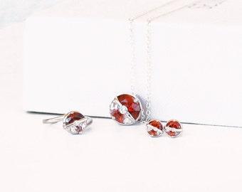 Pokemon Pokeball silver jewelry, pokemon ring, pokeball necklace, pokemon earrings,  Set of 3