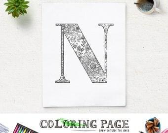 SALE Printable Alphabet Coloring Page Letter N Floral Pattern Instant Download Digital Art