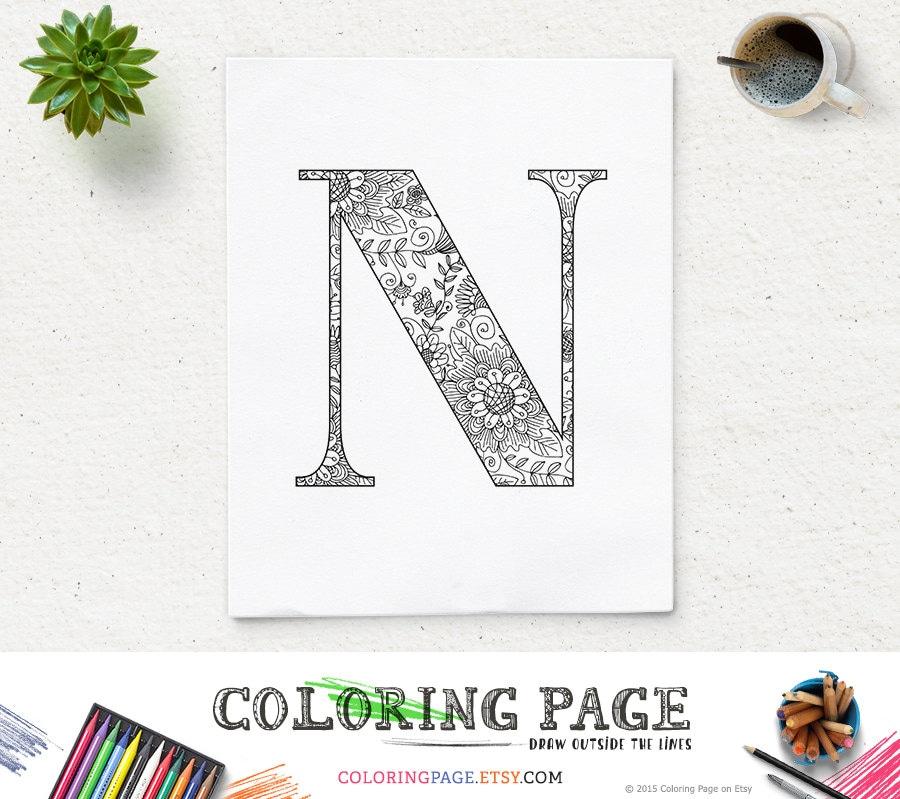 SALE Printable Alphabet Coloring Page Letter N Floral Pattern