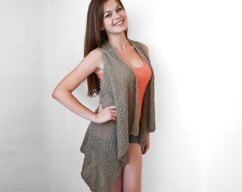Blue knit vest Summer long vest Light summer wear Cotton long