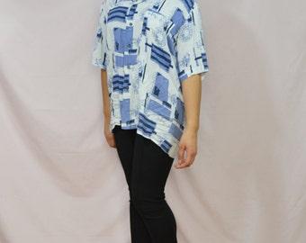 Signature Blue Print Shirt . Vintage Shirt . One Size . 1980s . WAREHOUSE SALE