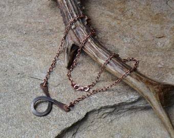 Handforged pendant, copper pendant, chain necklace, tribal necklace, primitive necklace, boho necklace, Unicorn Vibration, recycled necklace