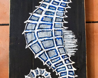Seahorse painting on reclaimed wood