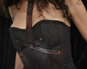 Leather and Denim Bustier Top