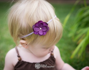 red headband baby burgundy hair flower burgundy headband