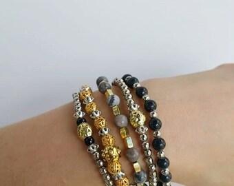Bracelet set - multiple bracelets - Bracelet Combination - Combine Bracelet - Beaded Bracelet - stacking bracelets - multi layer Stretch