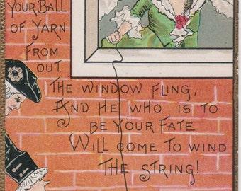 Antique Halloween Postcard, Ball of String