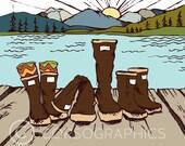 Alaska art print illustration design xtratuf art wall art print cabin art for cabin alaskan art mountain art illustration beach decor
