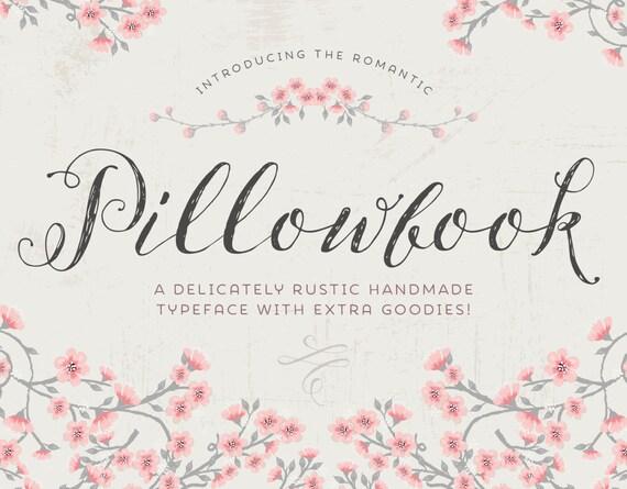 font: Pillowbook font PLUS extras / modern calligraphy font / wedding ...