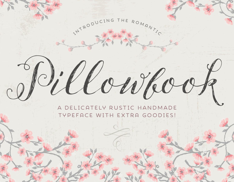 Script Font Pillowbook Font Plus Extras Modern