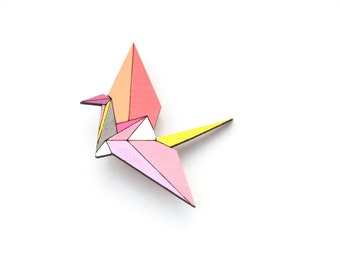 Geometric Brooch - Origami Crane Wooden Brooch Pin- Hand painted Geometric Wood Brooch - Origami Jewelry