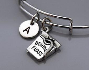 Dental floss bracelet, Dental floss charm bangle, dental hygienist, dental hygiene, Dentist bracelet, Charm bangle, Initial bracelet
