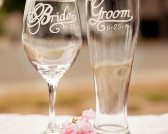 Bride Groom Glasses With Wedding Date Set Of 2 More Glass Types Available