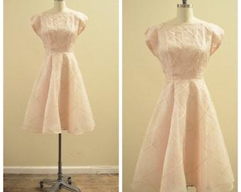 SALE   Was 195 - Vintage 1950's Silk Organza Blush Pink party dress with pin-tucks and bias lattice detail - size Medium / Large