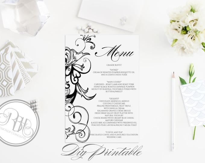 "Black & White Menu Template - INSTANT DOWNLOAD- Elegant Black White Floral Swirl Design - ""Helen in Black Menu Card"""