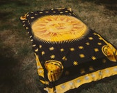 Bohemian Sun Tapestry, Hippie Tapestry, Black and Yellow Tapestry, Boho Tapestry, Sun Bedspread