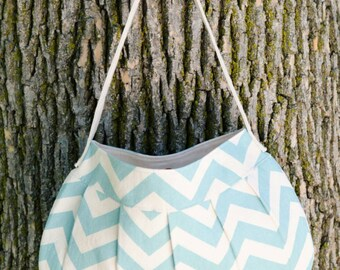 Canvas fabric purse - Buttercup Bag - blue and beige chevrons, magnetic closure