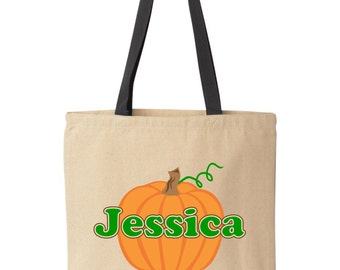 Personalized Halloween treat bag.  Pumpkin. Tote bag for trick-or-treat.  Halloween bag.  Halloween bucket by Pink Pig Printing.