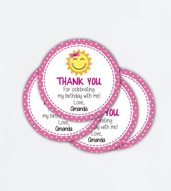 sunshine birthday favor tags  printable pdf  Baby Shower thank