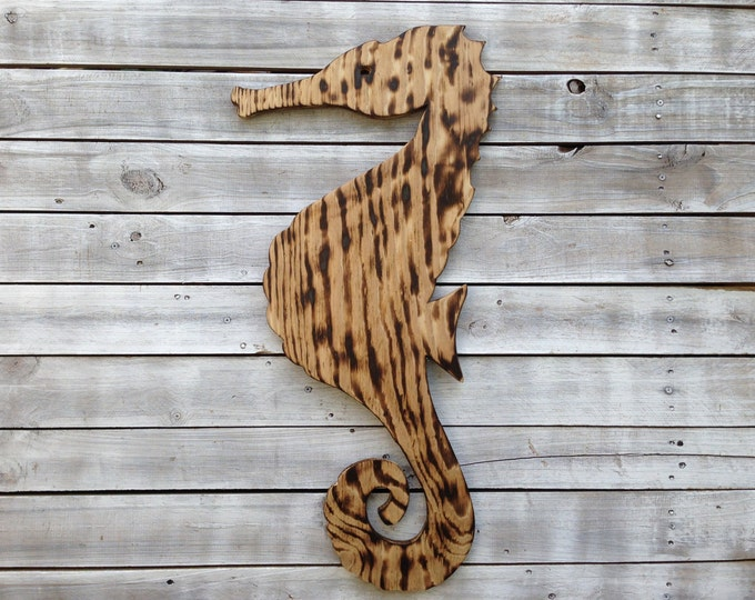 Unique Valentines gift, Wooden Seahorse Wall Art, Sea horse decor, Housewarming Gift, Wooden outdoor beach house sign.