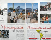 1953 Panagra Ad - Gloria Hotel Rio de Janeiro - Casino Vina Del Mar Santiago - Pan American Grace Airways - 1950s South America Travel Ad