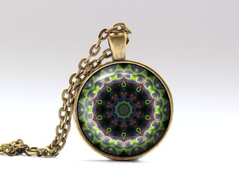 Hippie jewelry Colorful pendant Buddhist necklace OWA397