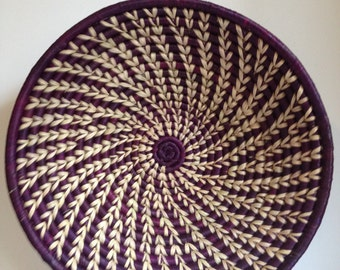 Hand Woven Sisal Basket - Spiral - Purple/Natural