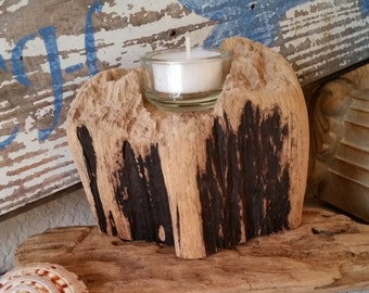 Rustic Driftwood Beach Votive, Reclaimed Wood Votive,Weathered Driftwood Votive, Beach Votive**FREE SHIPPING